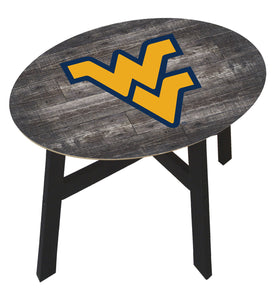 West Virginia Mountaineers Distressed Wood Logo Side Table
