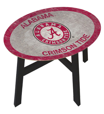 NCAA fan gear Alabama Crimson Tide color logo wood side table from Sports Fanz