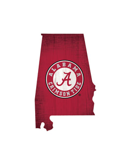 Alabama Crimson Tide State Wood Sign