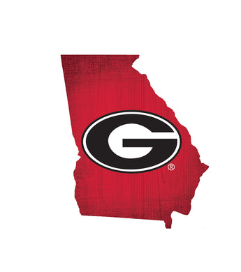 Georgia Bulldogs State Wood Sign