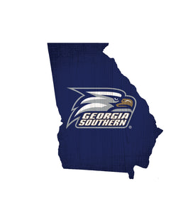 Georgia Southern Eagles State Wood Sign