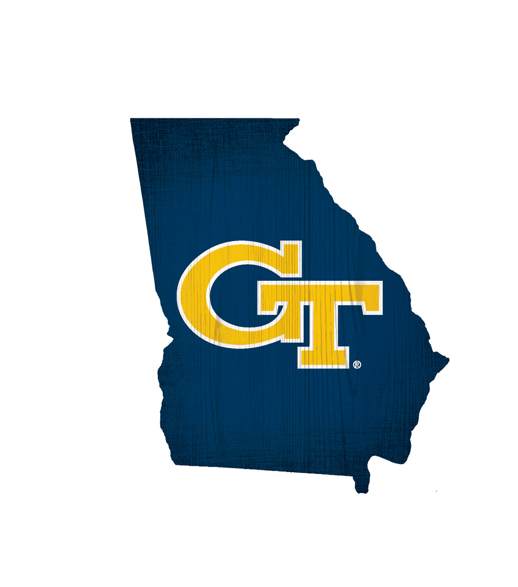 Georgia Tech Yellow Jackets State Wood Sign