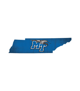 Middle Tennessee State Blue Raiders State Wood Sign