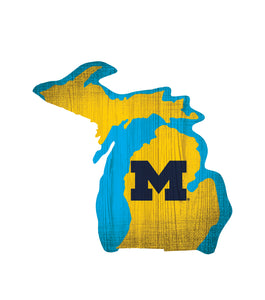Michigan Wolverines State Wood Sign