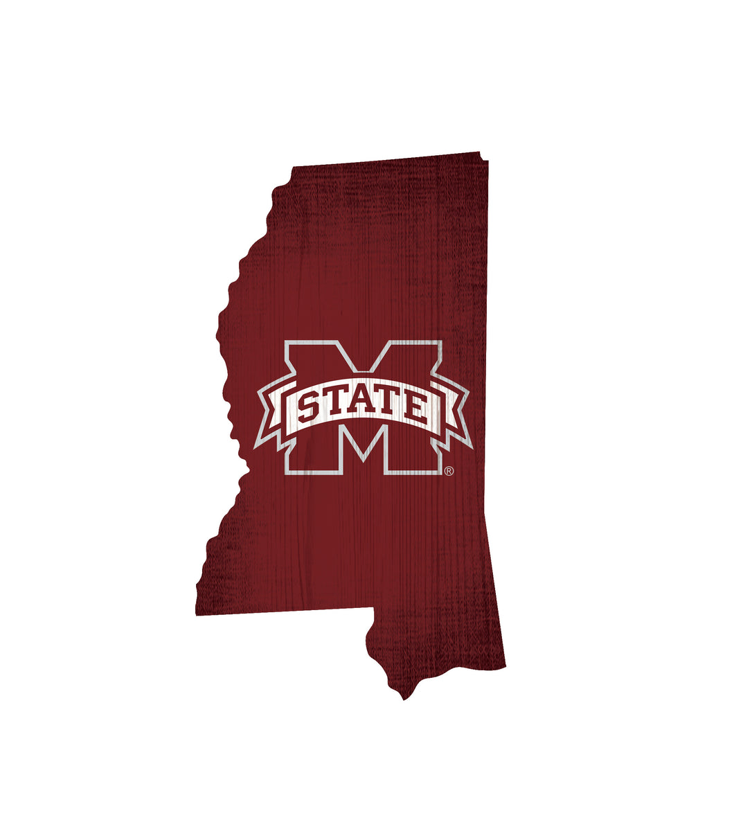 Mississippi State Bulldogs State Wood Sign