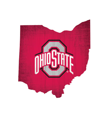 Ohio State Buckeyes State Wood Sign