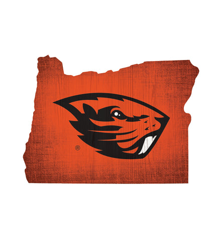Oregon State Beavers State Wood Sign