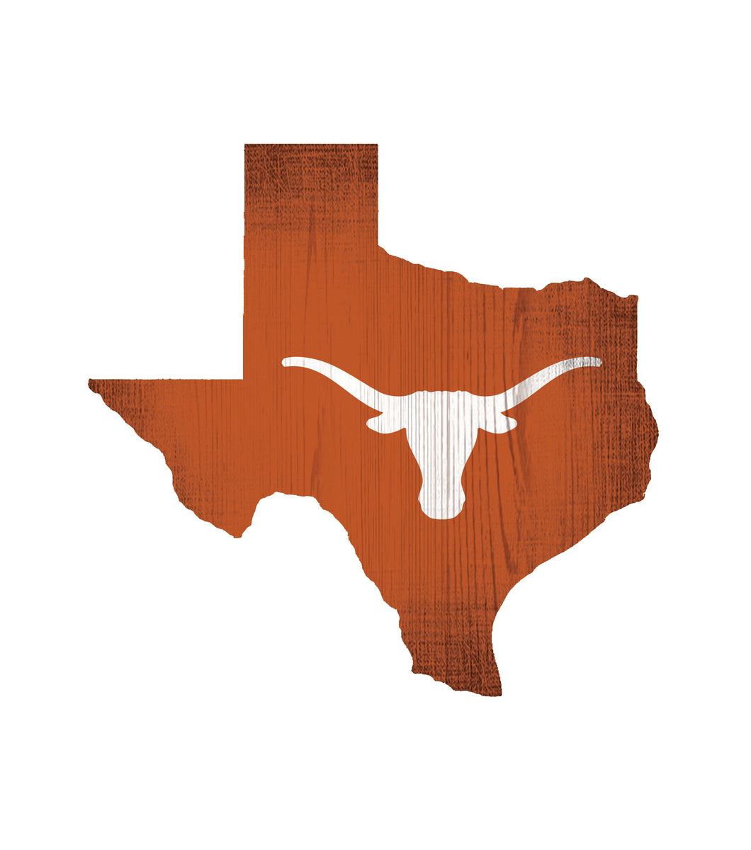 Texas Longhorns State Wood Sign