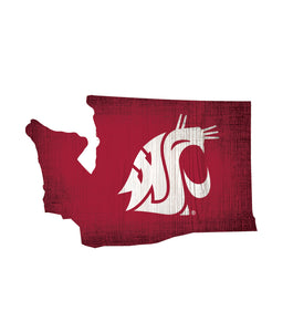 Washington State Cougars State Wood Sign