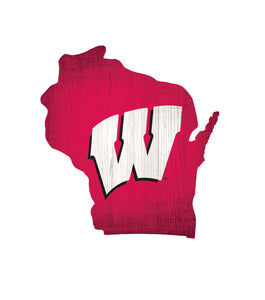 Wisconsin Badgers State Wood Sign
