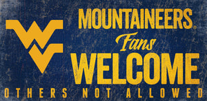 "West Virginia Fans Welcome Wood Sign - 6""x12"""