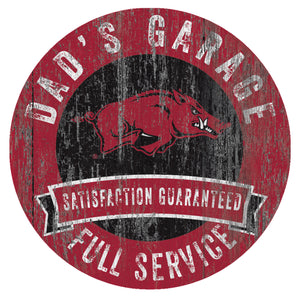 Arkansas Razorbacks Dad's Garage Sign