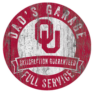 Oklahoma Sooners Dad's Garage Sign