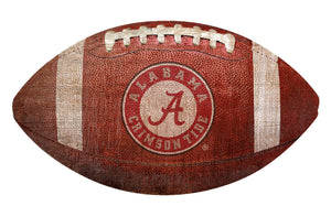 NCAA football fan gear Alabama Crimson Tide football-shaped wood sign from Sports Fanz