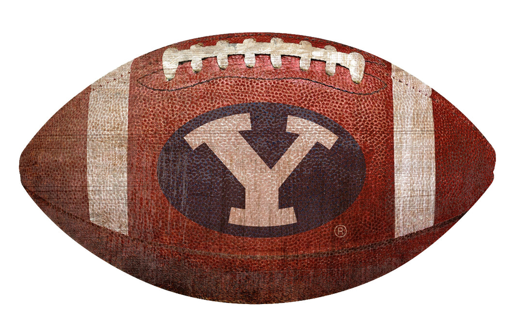 BYU Cougars Football Shaped Sign Wood Sign