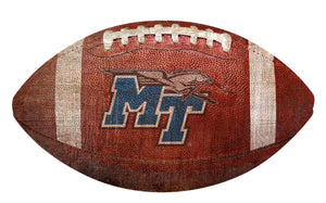 Middle Tennessee State  Blue Raiders Football Shaped Sign Wood Sign