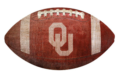 Oklahoma Sooners Football Shaped Sign Wood Sign