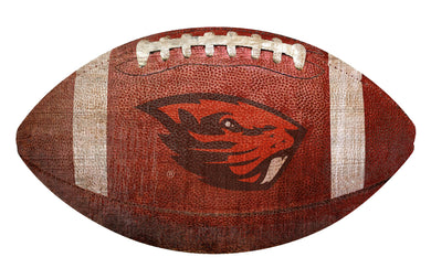 Oregon State Beavers Football Shaped Sign Wood Sign