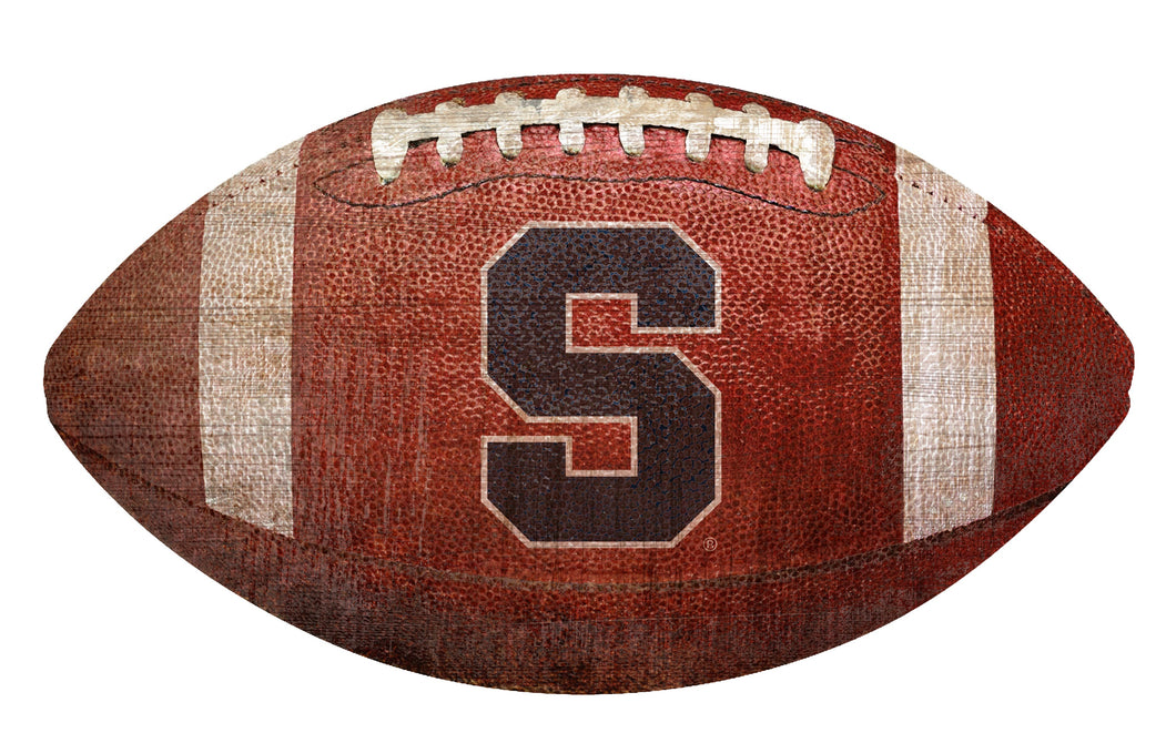 Syracuse  Orange Football Shaped Sign Wood Sign