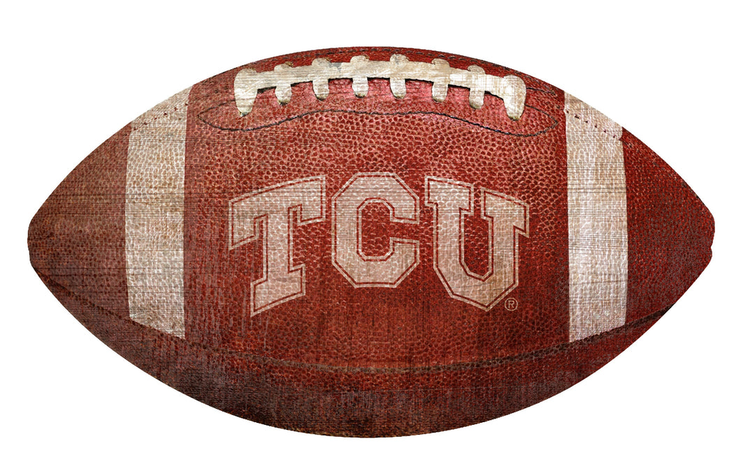 TCU Horned Frogs Football Shaped Sign Wood Sign