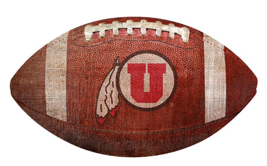 Utah Utes Football Shaped Sign Wood Sign