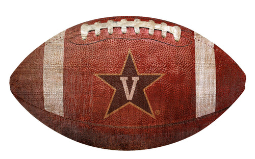 Vanderbilt Commodores Football Shaped Sign Wood Sign
