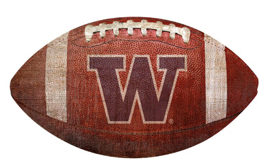 Washington Huskiers Football Shaped Sign Wood Sign