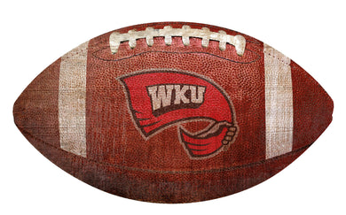 Western Kentucky Hilltoppers Football Shaped Sign Wood Sign