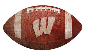 Wisconsin Badgers Football Shaped Sign Wood Sign
