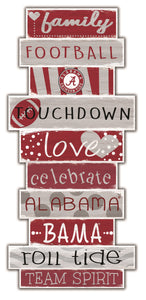 "NCAA fan gear Alabama Crimson Tide stack wood sign 24"" from Sports Fanz"