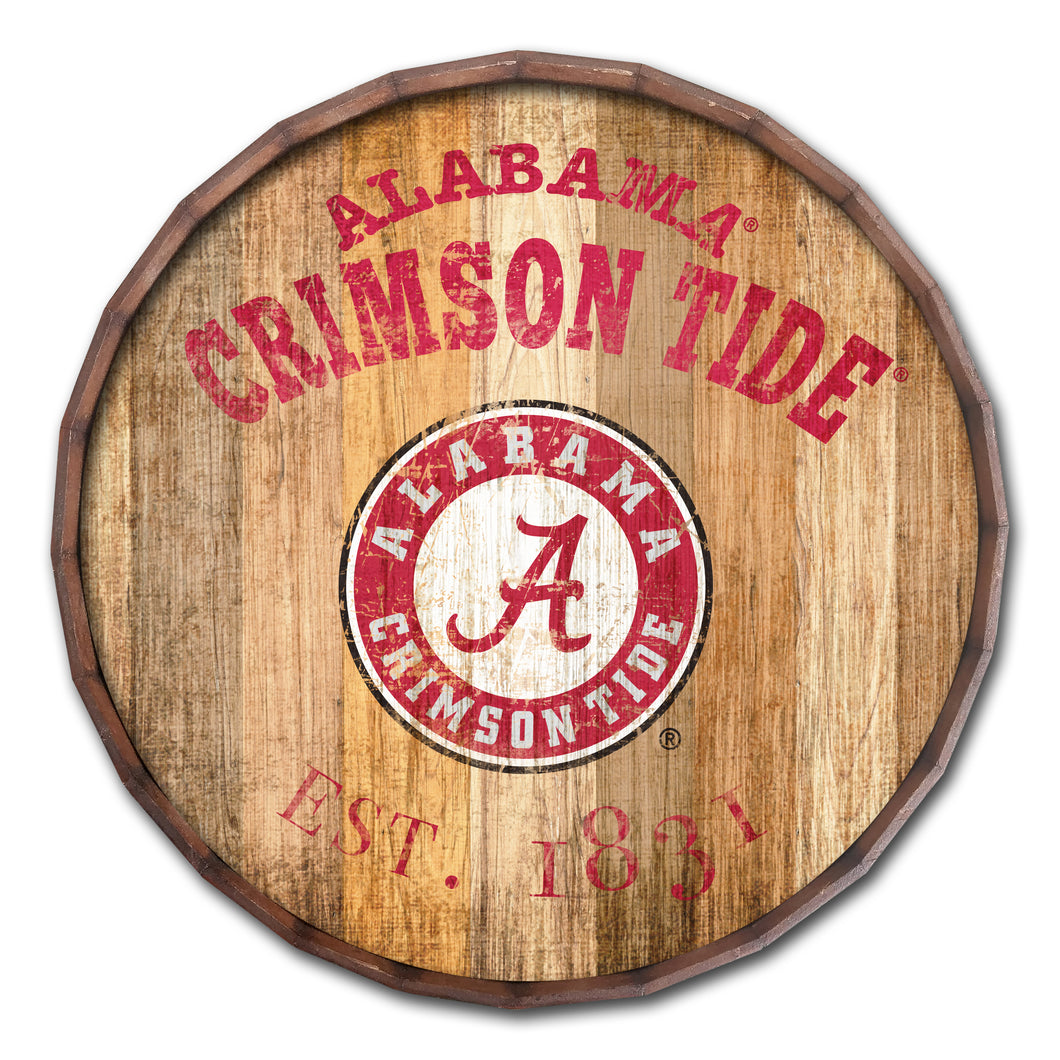 NCAA fan gear Alabama Crimson Tide established date barrel top from Sports Fanz