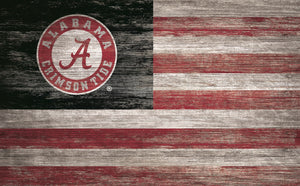 "Alabama Crimson Tide Distressed Flag Sign - 11""x19"""