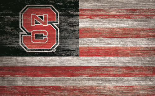 NC State Wolfpack Distressed Flag Sign - 11