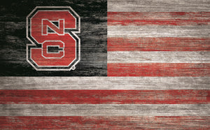 "NC State Wolfpack Distressed Flag Sign - 11""x19"""