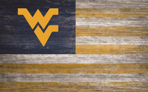 "West Virginia Mountaineers Distressed Flag Sign - 11""x19"""