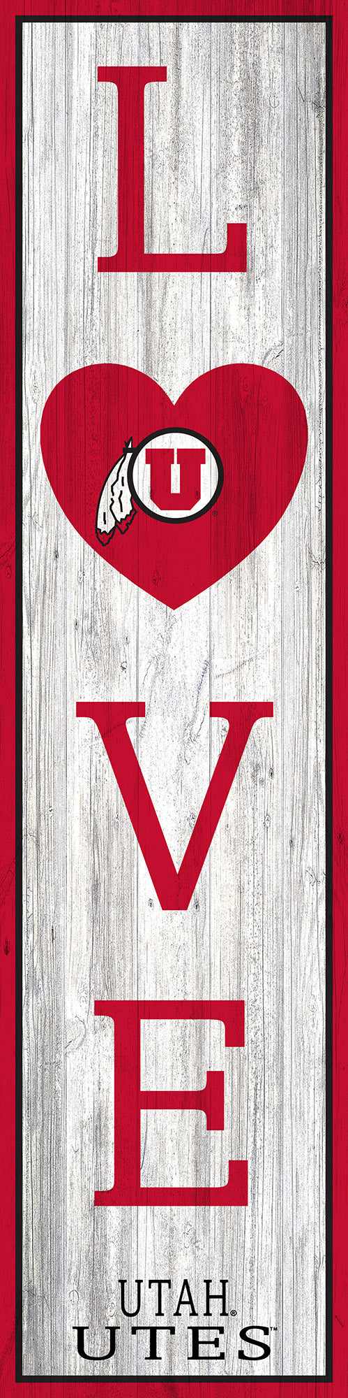 Utah Utes Flag LOVE Door Leaner Sign - 12