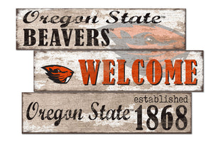 Oregon State Beavers Welcome 3 Plank Wood Sign