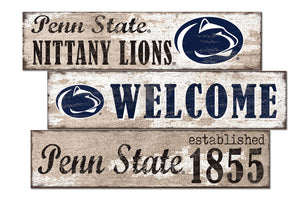 Penn State Nittany Lions Welcome 3 Plank Wood Sign
