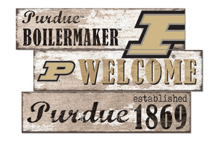 Purdue Boilermakers Welcome 3 Plank Wood Sign