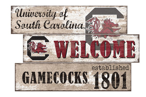 South Carolina Gamecocks Welcome 3 Plank Wood Sign