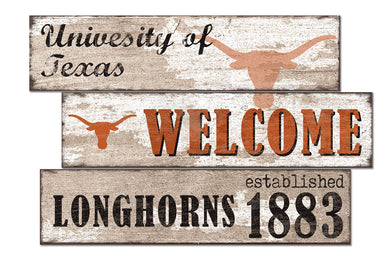 Texas Longhorns Welcome 3 Plank Wood Sign