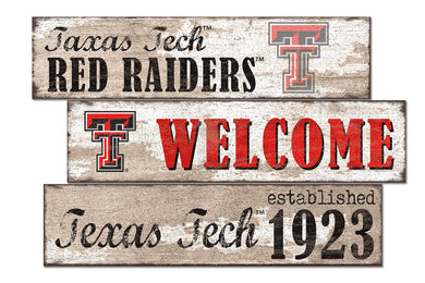 Texas Tech Red Raiders Welcome 3 Plank Wood Sign
