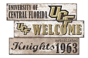 UCF Knights Welcome 3 Plank Wood Sign