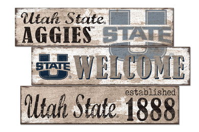 Utah State Aggies Welcome 3 Plank Wood Sign