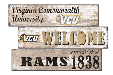 VCU Rams Welcome 3 Plank Wood Sign