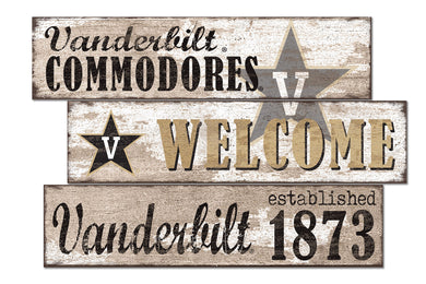 Vanderbilt Commodores Welcome 3 Plank Wood Sign