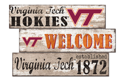 Virginia Tech Hokies Welcome 3 Plank Wood Sign