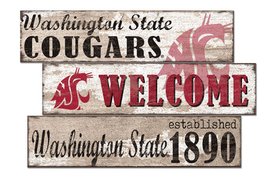 Washington State Cougars Welcome 3 Plank Wood Sign