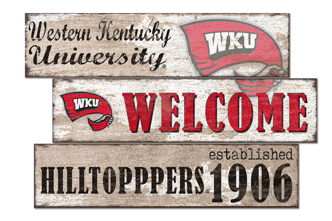 Western Kentucky Hilltoppers Welcome 3 Plank Wood Sign