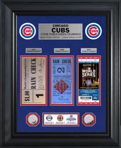 Chicago Cubs 3-Time World Series Deluxe Silver Coin & Ticket Collection